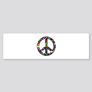 Hippie Flowery Peace Sign Sticker (Bumper)