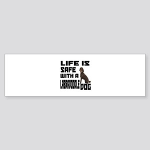 Life Is Safe With A Labradoodle Sticker (Bumper)