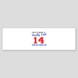 Really Cool 14 Birthday Designs Sticker (Bumper)
