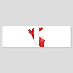 Peru Flag And Map Sticker (Bumper)