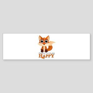 Foxes Make Me Happy Bumper Sticker