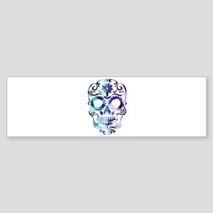 Blue & Purple Sugar Skull Bumper Sticker