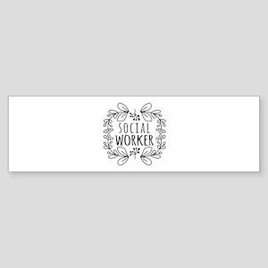 Hand-Drawn Wreath Social Worker Sticker (Bumper)