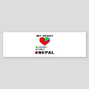 My Heart Friends, Family and Nepa Sticker (Bumper)
