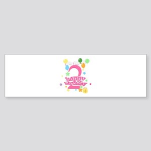 2nd Birthday with Balloons - Pink Sticker (Bumper)
