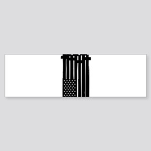 American Flag Crosses Bumper Sticker