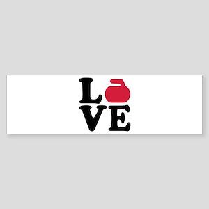 Curling love stone Sticker (Bumper)