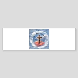 He Has Risen Rugged Cross With Cl Sticker (Bumper)
