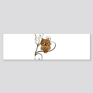Brown Swirly Tree Owl Sticker (Bumper)