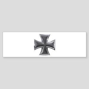 Black & Chrome Iron Cross Bumper Sticker