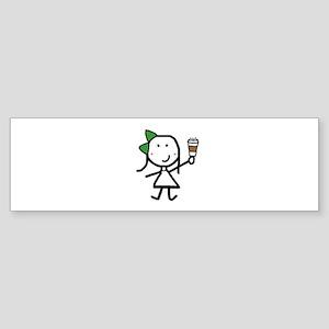 Girl & Coffee Sticker (Bumper)