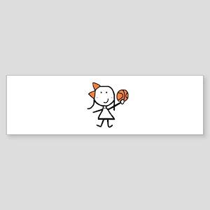 Girl & Basketball Bumper Sticker