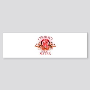 I Wear Red For My Sister (floral) Sticker (Bumper)