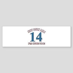 14 year old birthday designs Sticker (Bumper)