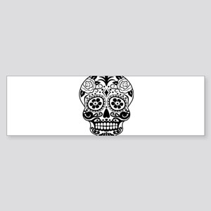 Sugar skull black and white Bumper Sticker