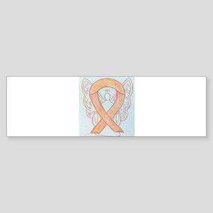 Peach Awareness Ribbon Angel Bumper Sticker