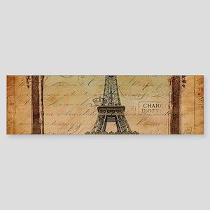 vintage scripts postage paris eiffe Bumper Sticker