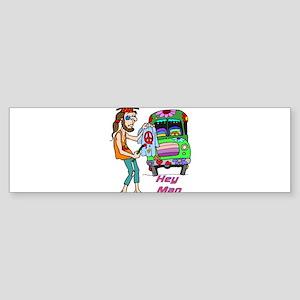 Hey Man- Hippie & Van Bumper Sticker
