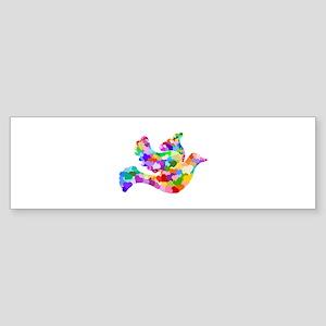 Rainbow Dove of Hearts Sticker (Bumper)