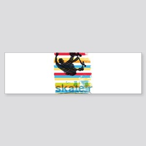 Skateboarder Ink Sketch Jump on Rai Bumper Sticker