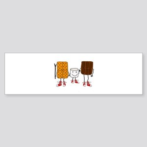 Funny Smores Camping Cartoon Bumper Sticker