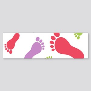 Barefoot Barefeet Colorful Bumper Sticker