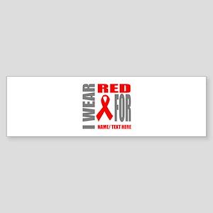 Red Awareness Ribbon Customized Sticker (Bumper)