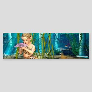 Little Mermaid holding Anemone Flower Bumper Stick
