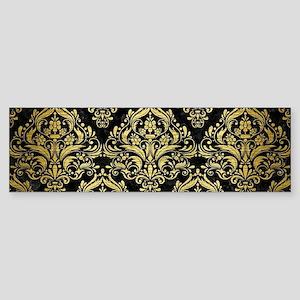 DAMASK1 BLACK MARBLE & GOLD BRUSH Sticker (Bumper)