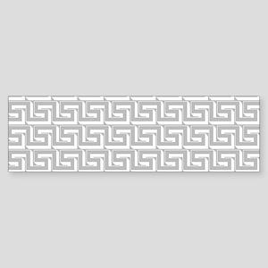 Elegant Gray Greek Key Pattern Bumper Sticker