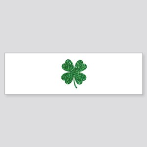 Green Glitter Shamrock st. particks Bumper Sticker