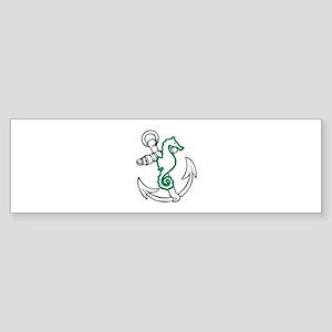 ANCHOR AND SEAHORSE APPLIQUE Bumper Sticker