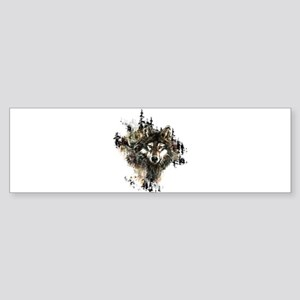Watercolor Wolf Mountain Art Bumper Sticker