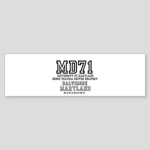 UNIVERSITY AIRPORT CODES - MD71 - U Bumper Sticker