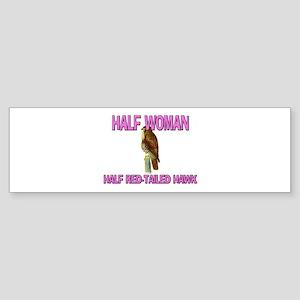 Half Woman Half Red-Tailed Hawk Bumper Sticker