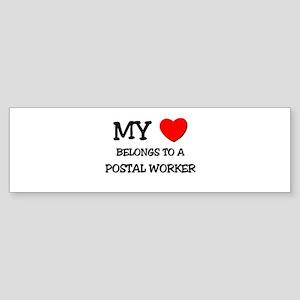 My Heart Belongs To A POSTAL WORKER Sticker (Bumpe