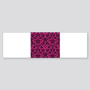 Hot pink and black damask Bumper Sticker