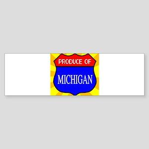 Produce Of Michigan Shield Bumper Sticker
