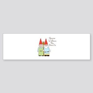 Gardening Gnome Couple Bumper Sticker
