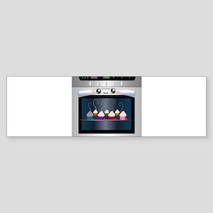 Cute Happy Oven with cupcakes Sticker (Bumper)