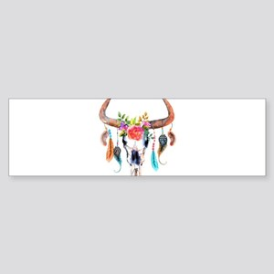 Colorful Bull Horns & Skull Flowers Bumper Sticker