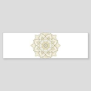 Gold Glitter Floral Mandala Design Bumper Sticker