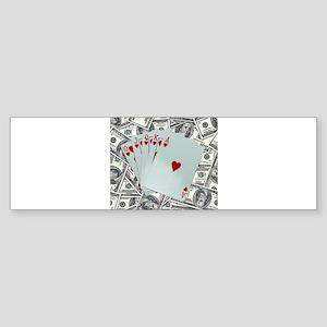 Royal Flush Hearts Bumper Sticker