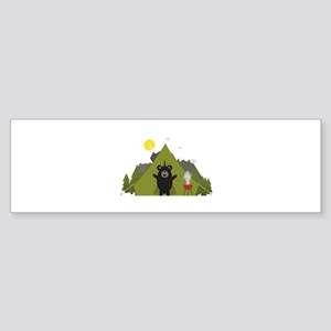 Grizzly Bear Camping Bumper Sticker
