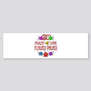 Peace Love Flower Power Bumper Sticker