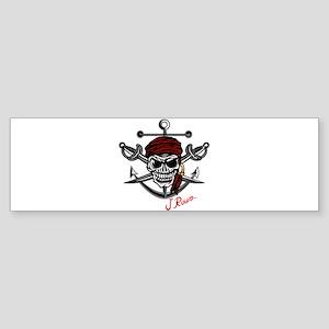 J Rowe Skull Crossed Swords Bumper Sticker