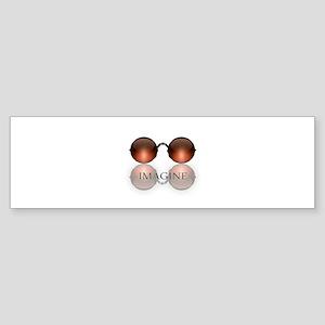 round glasses blk Bumper Sticker