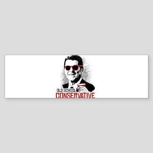 Reagan: Old School Conservative Sticker (Bumper)