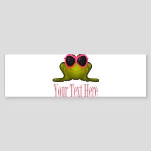 Frog in Pink Sunglasses Custom Bumper Sticker