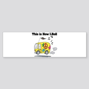 3-hippie bus Sticker (Bumper)